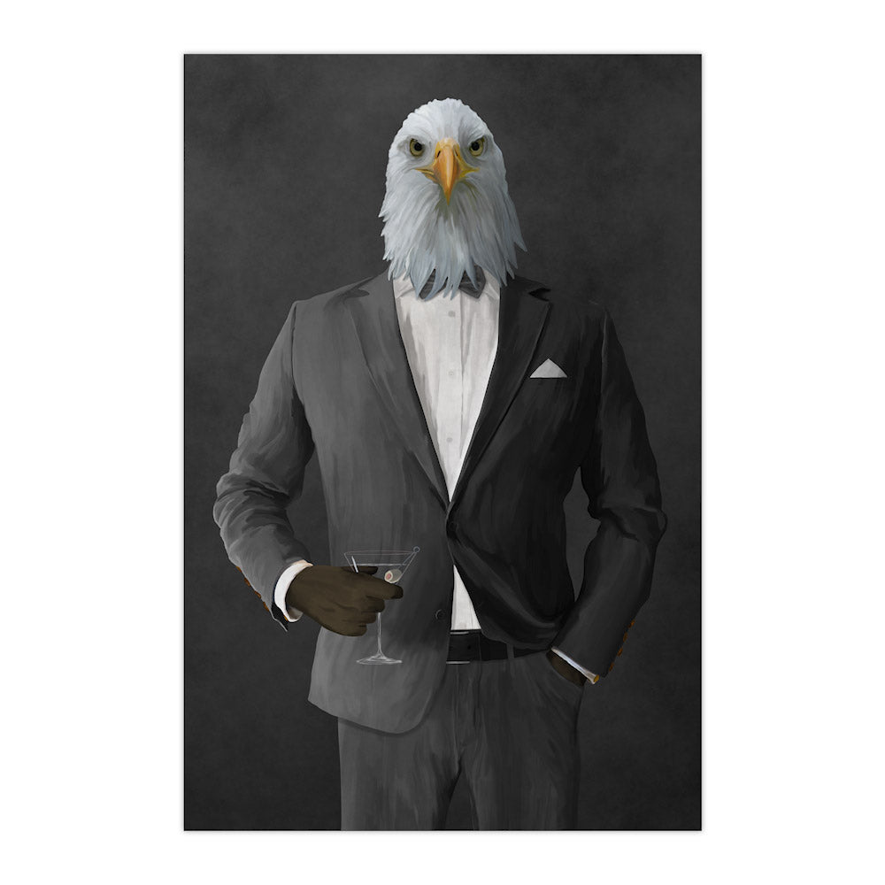 Bald eagle drinking martini wearing gray suit large wall art print