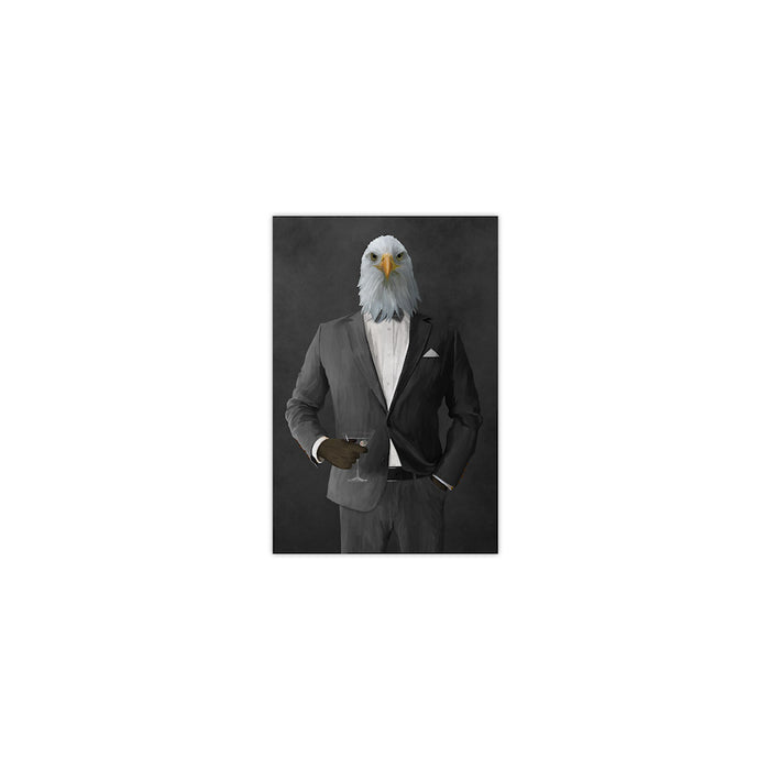 Bald eagle drinking martini wearing gray suit small wall art print