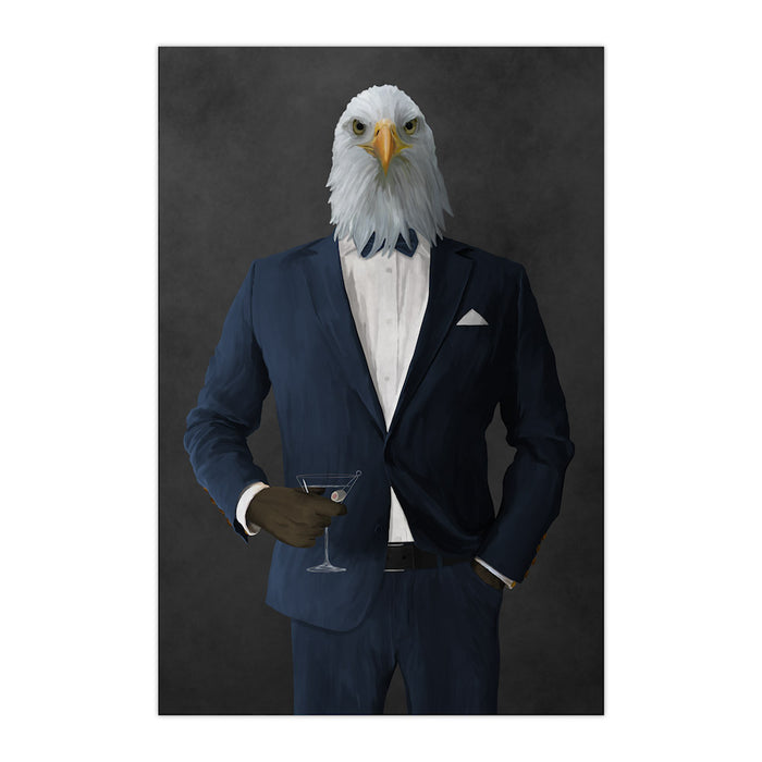 Bald eagle drinking martini wearing navy suit large wall art print