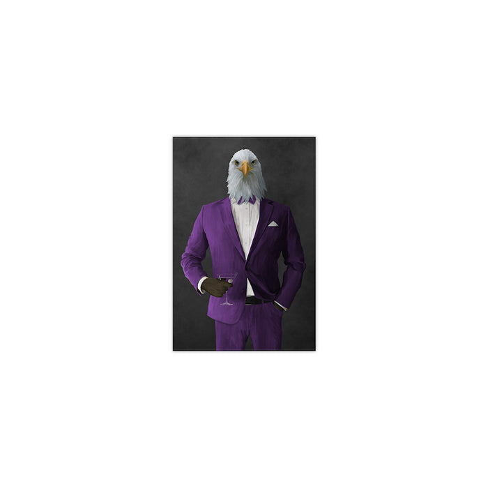 Bald eagle drinking martini wearing purple suit small wall art print