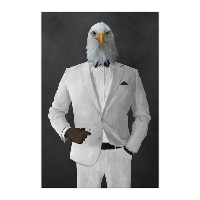 Bald eagle drinking martini wearing white suit large wall art print