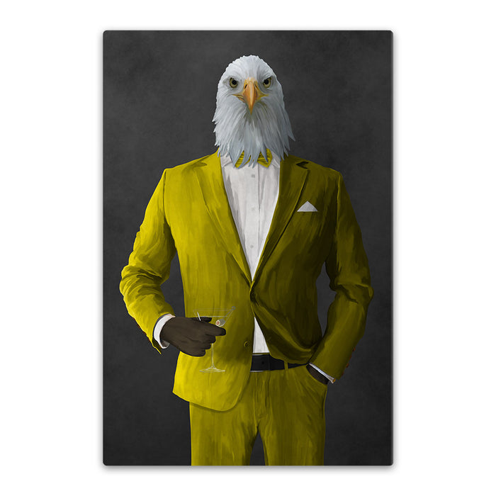 Bald eagle drinking martini wearing yellow suit canvas wall art