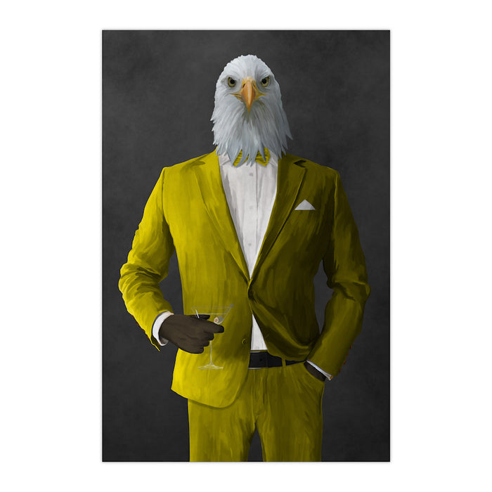 Bald eagle drinking martini wearing yellow suit large wall art print