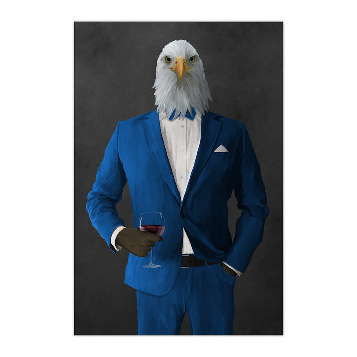 Bald eagle drinking red wine wearing blue suit large wall art print