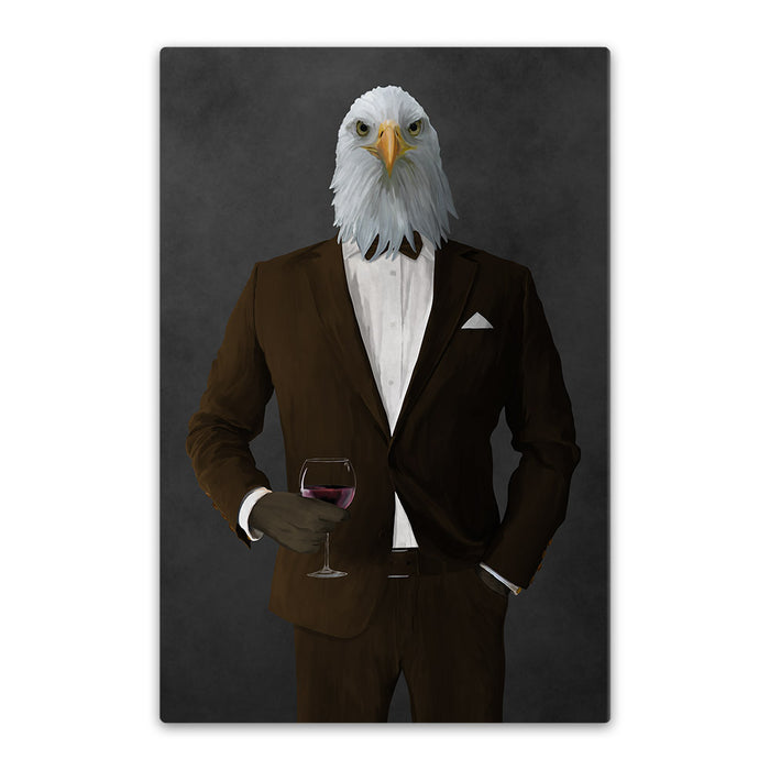 Bald eagle drinking red wine wearing brown suit canvas wall art