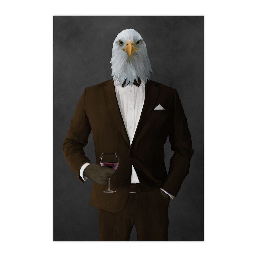Bald eagle drinking red wine wearing brown suit large wall art print