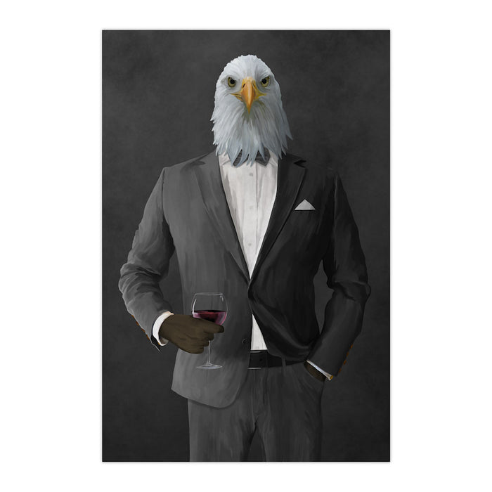 Bald eagle drinking red wine wearing gray suit large wall art print