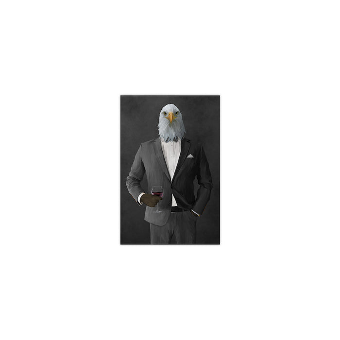 Bald eagle drinking red wine wearing gray suit small wall art print