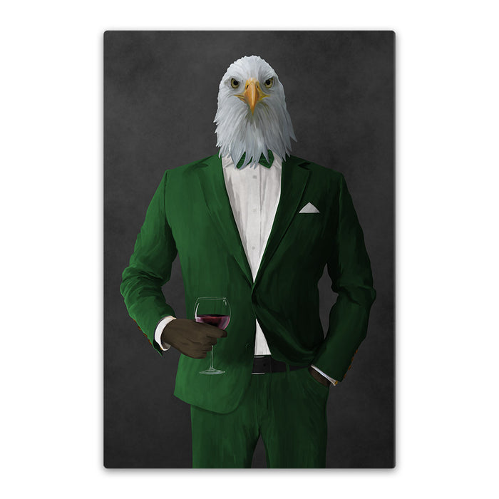 Bald eagle drinking red wine wearing green suit canvas wall art
