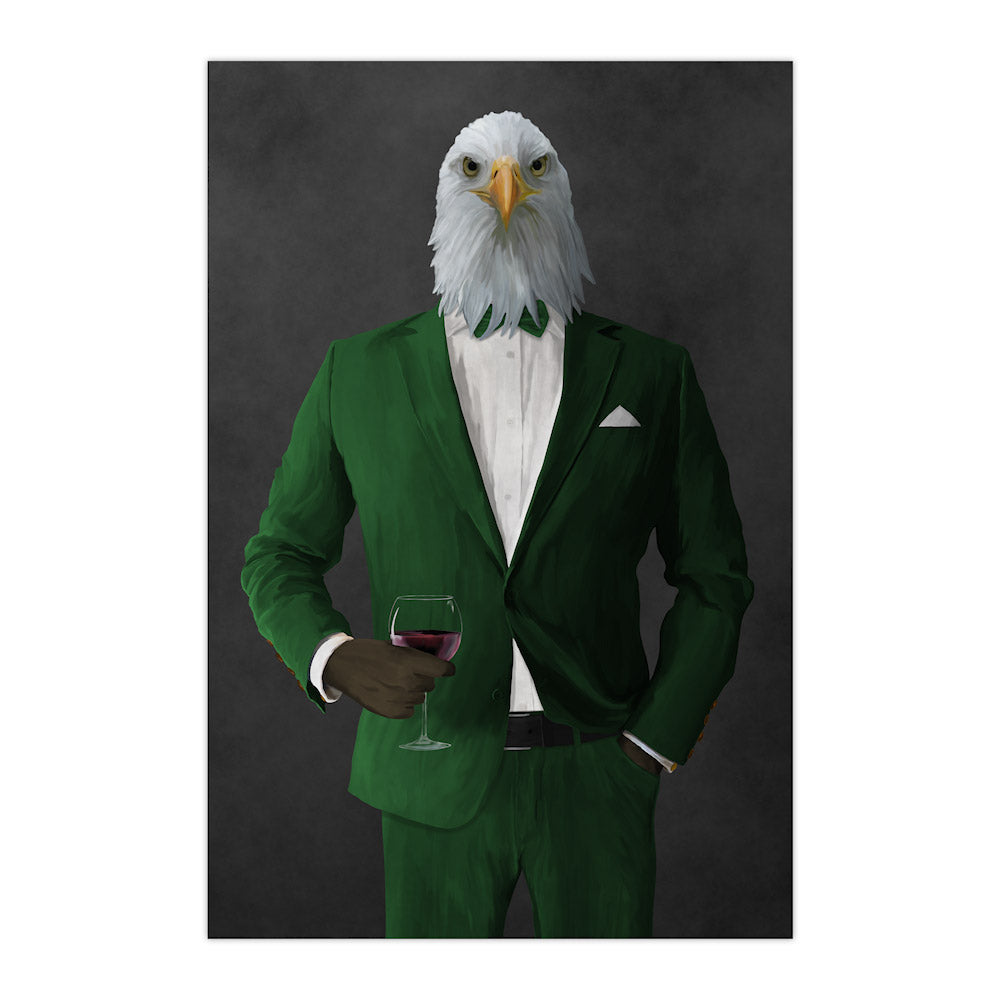 Bald eagle drinking red wine wearing green suit large wall art print