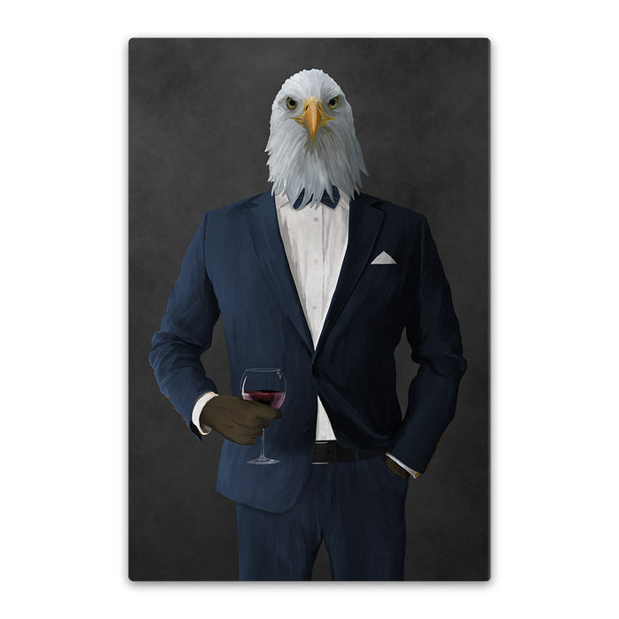 Bald eagle drinking red wine wearing navy suit canvas wall art