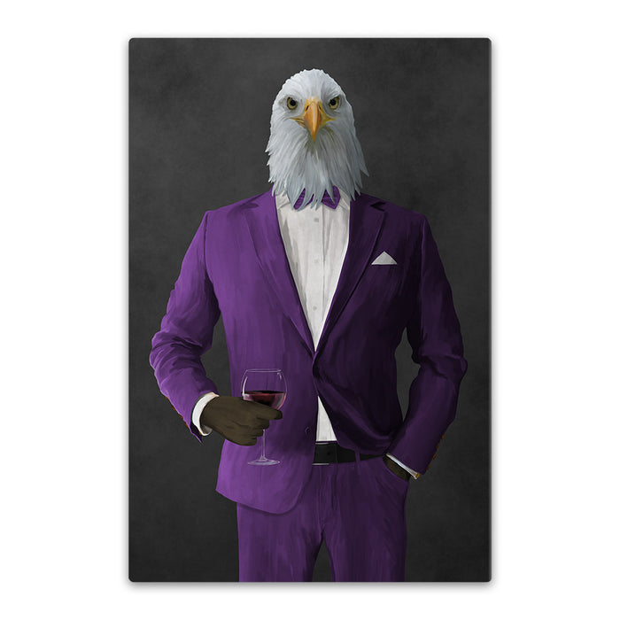 Bald eagle drinking red wine wearing purple suit canvas wall art
