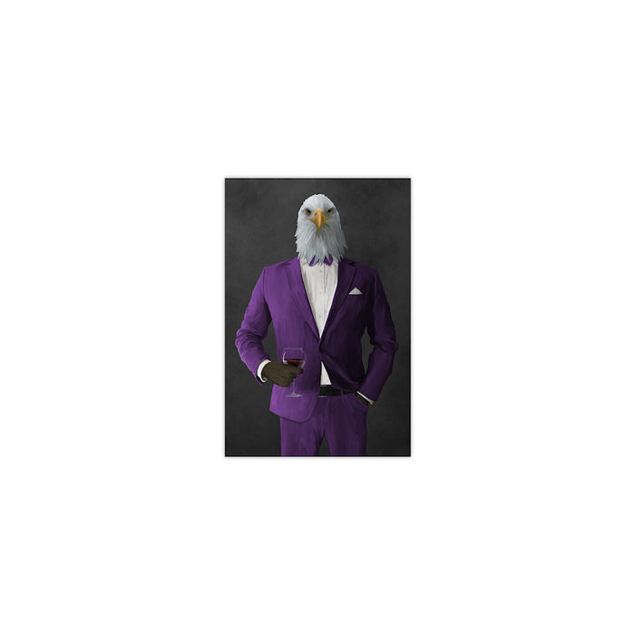 Bald eagle drinking red wine wearing purple suit small wall art print