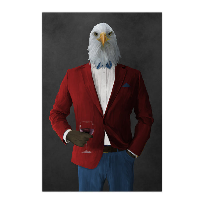 Bald eagle drinking red wine wearing red and blue suit large wall art print