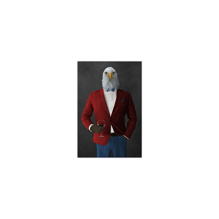 Bald eagle drinking red wine wearing red and blue suit small wall art print