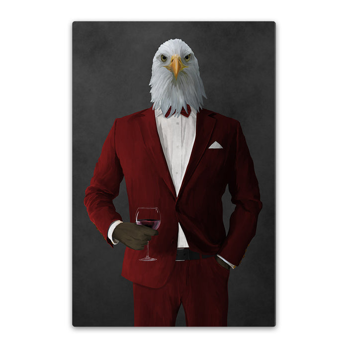 Bald eagle drinking red wine wearing red suit canvas wall art