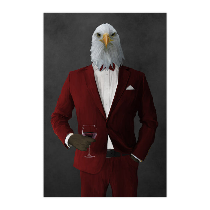 Bald eagle drinking red wine wearing red suit large wall art print