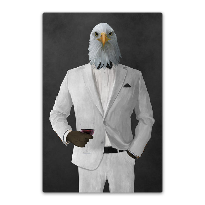 Bald eagle drinking red wine wearing white suit canvas wall art