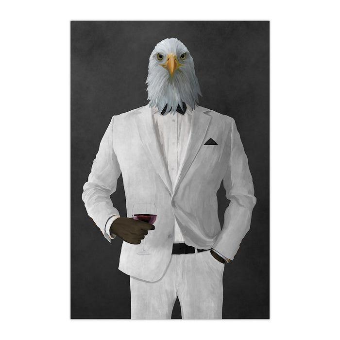 Bald eagle drinking red wine wearing white suit large wall art print