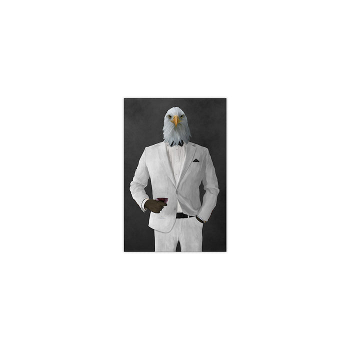 Bald eagle drinking red wine wearing white suit small wall art print