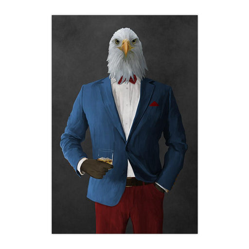 Bald eagle drinking whiskey wearing blue and red suit large wall art print