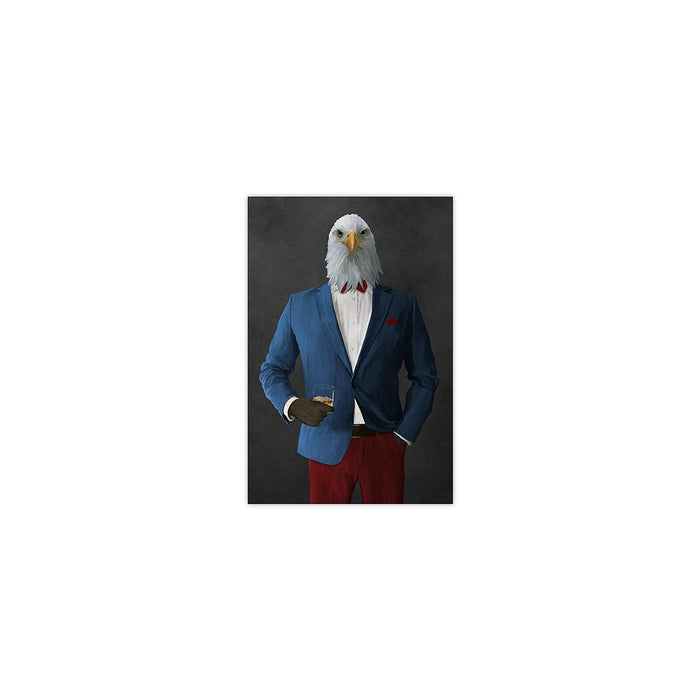 Bald eagle drinking whiskey wearing blue and red suit small wall art print