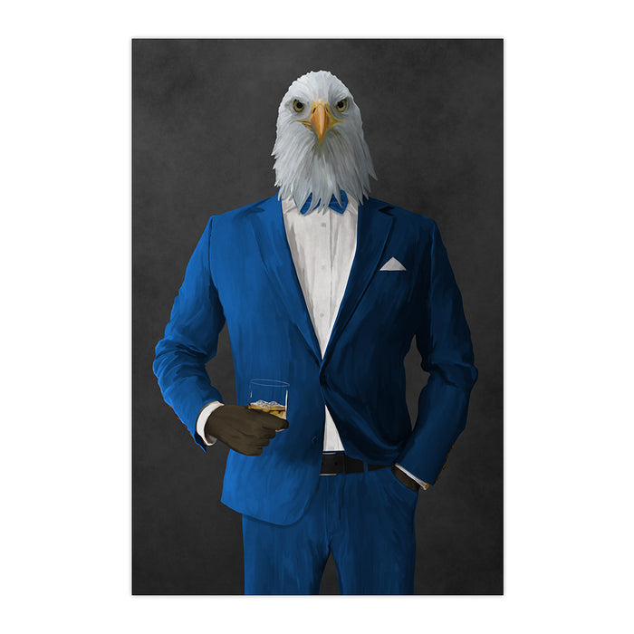 Bald eagle drinking whiskey wearing blue suit large wall art print
