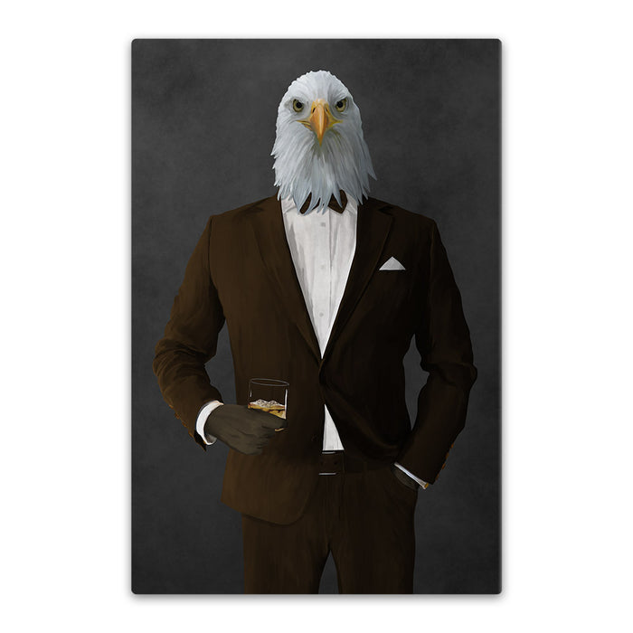Bald eagle drinking whiskey wearing brown suit canvas wall art