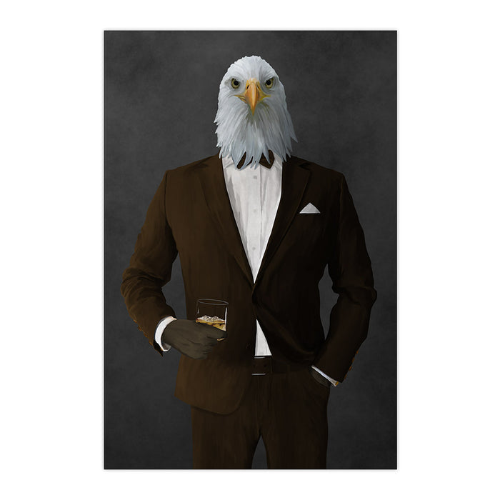 Bald eagle drinking whiskey wearing brown suit large wall art print