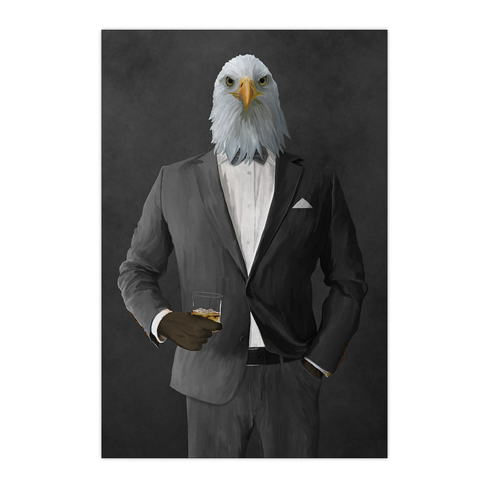 Bald eagle drinking whiskey wearing gray suit large wall art print