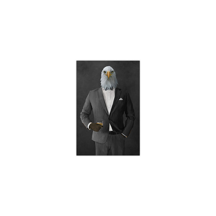 Bald eagle drinking whiskey wearing gray suit small wall art print