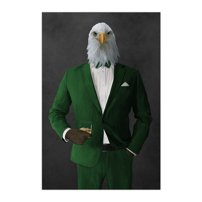 Bald eagle drinking whiskey wearing green suit large wall art print
