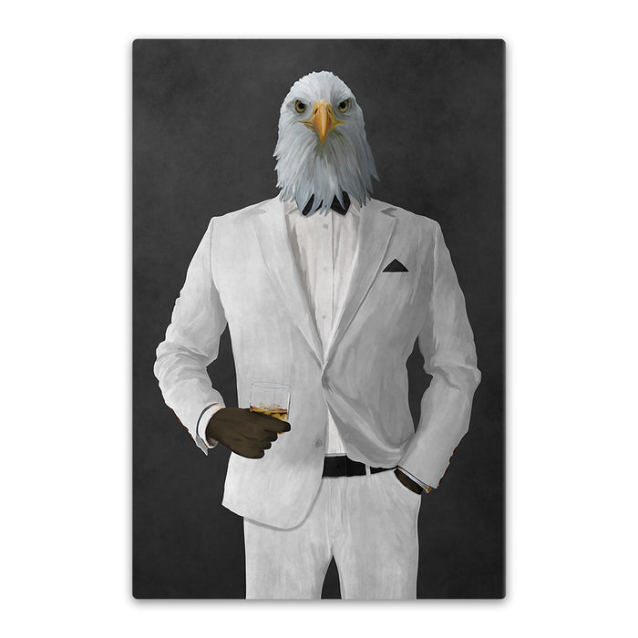 Bald eagle drinking whiskey wearing white suit canvas wall art