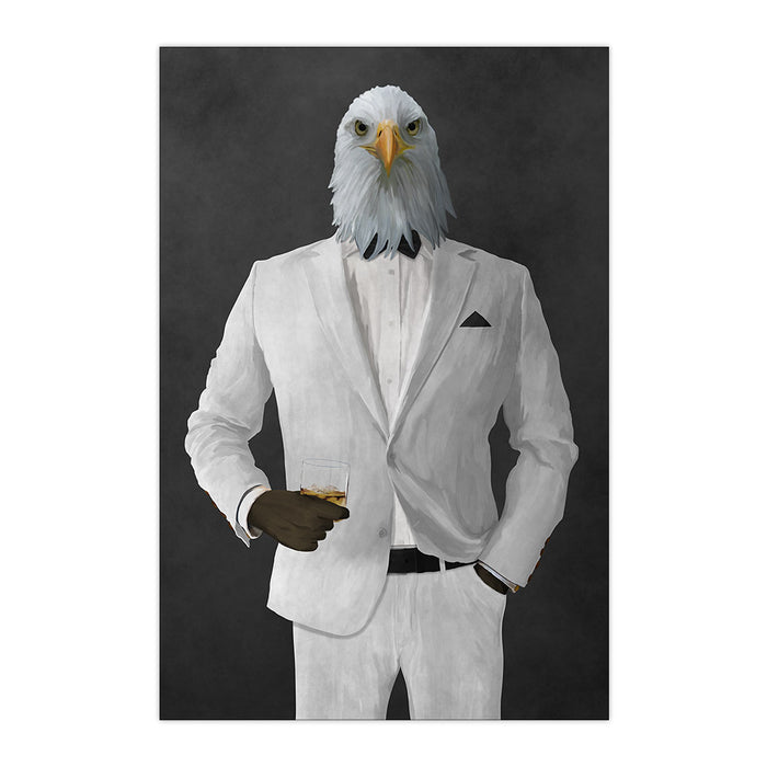 Bald eagle drinking whiskey wearing white suit large wall art print