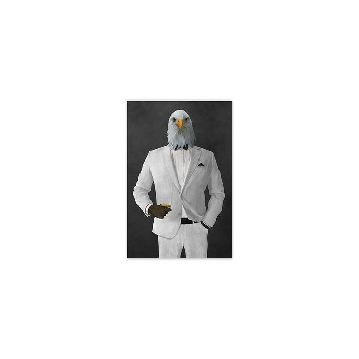 Bald eagle drinking whiskey wearing white suit small wall art print