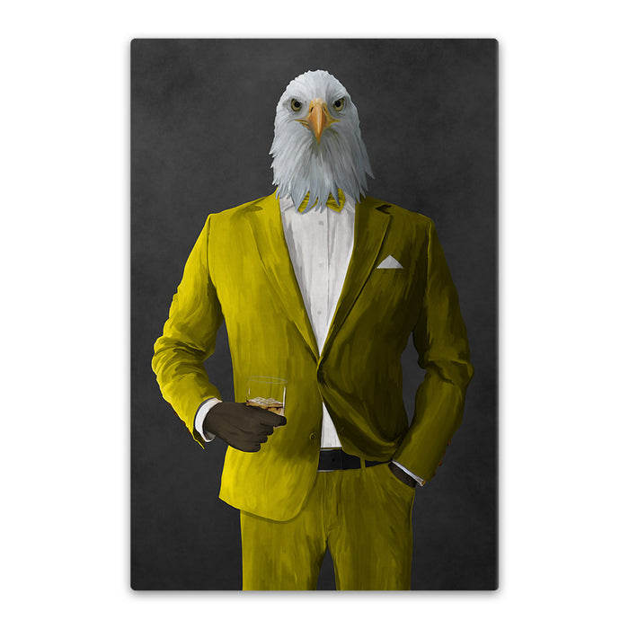 Bald eagle drinking whiskey wearing yellow suit canvas wall art