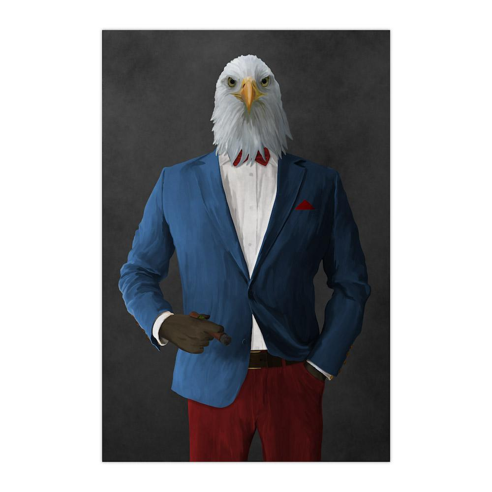 Bald eagle smoking cigar wearing blue and red suit large wall art print