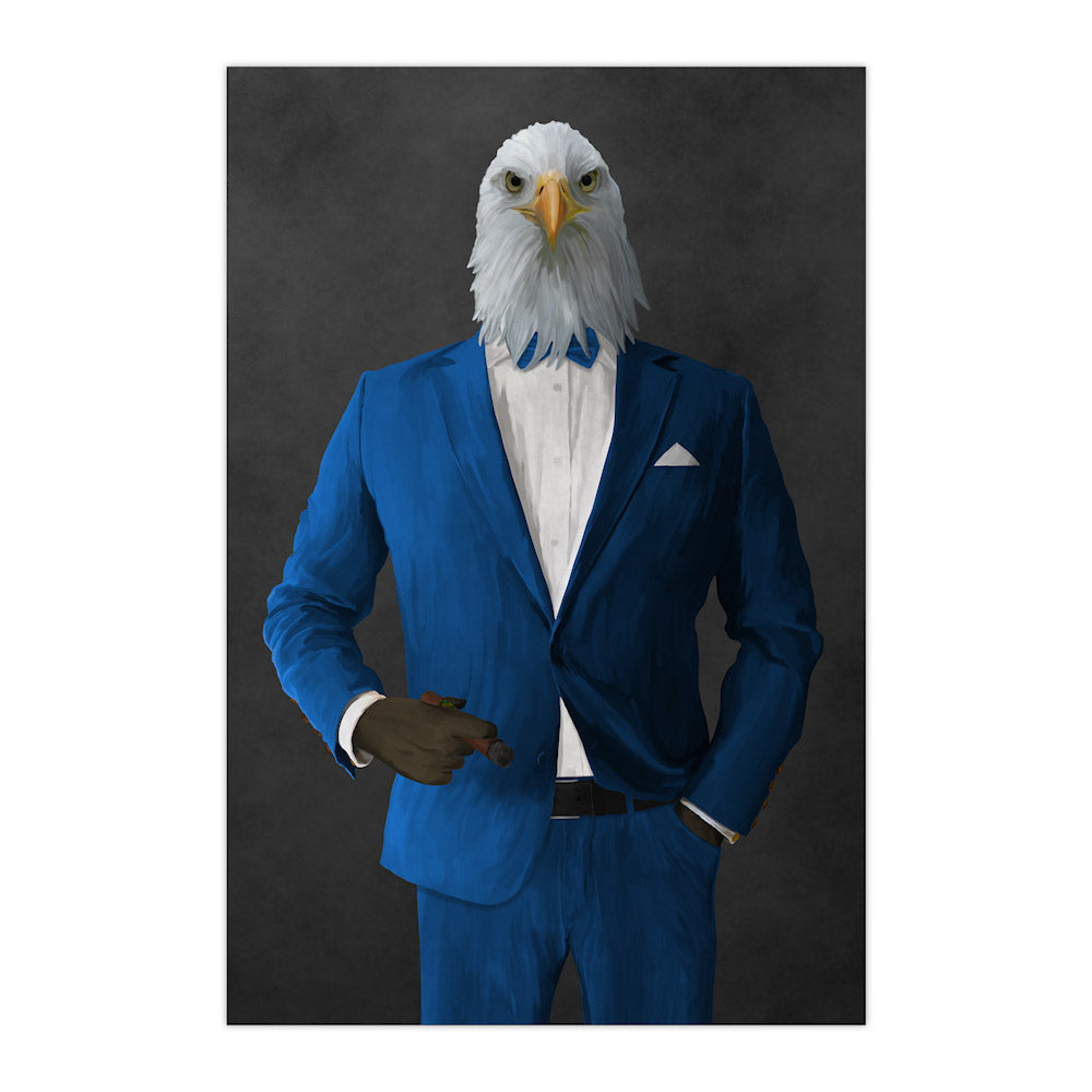 Bald eagle smoking cigar wearing blue suit large wall art print