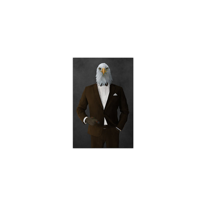 Bald eagle smoking cigar wearing brown suit small wall art print