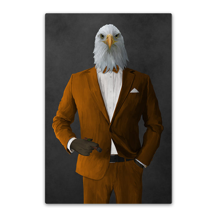 Bald eagle smoking cigar wearing orange suit canvas wall art