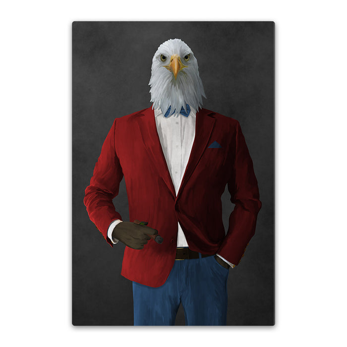Bald eagle smoking cigar wearing red and blue suit canvas wall art