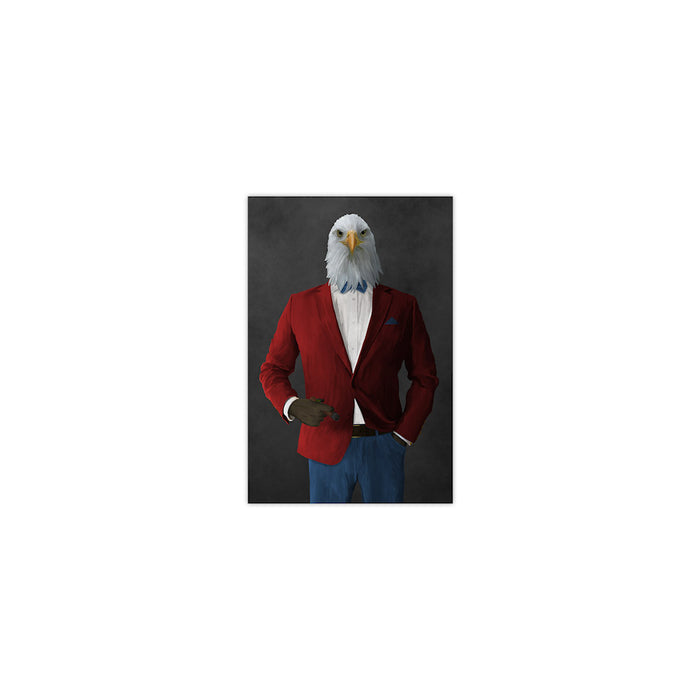 Bald eagle smoking cigar wearing red and blue suit small wall art print