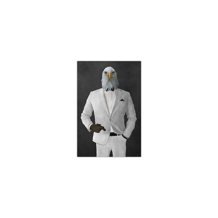 Bald eagle smoking cigar wearing white suit small wall art print