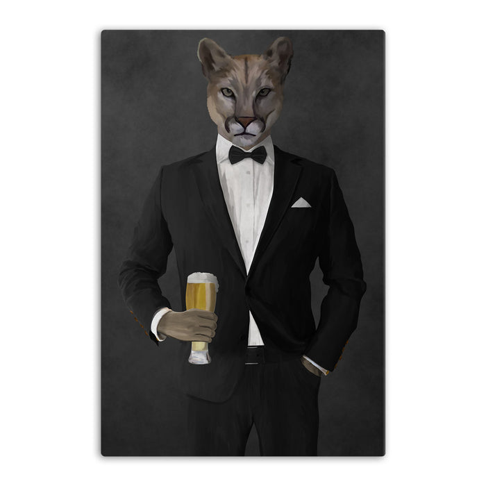 Cougar Drinking Beer Wall Art - Black Suit