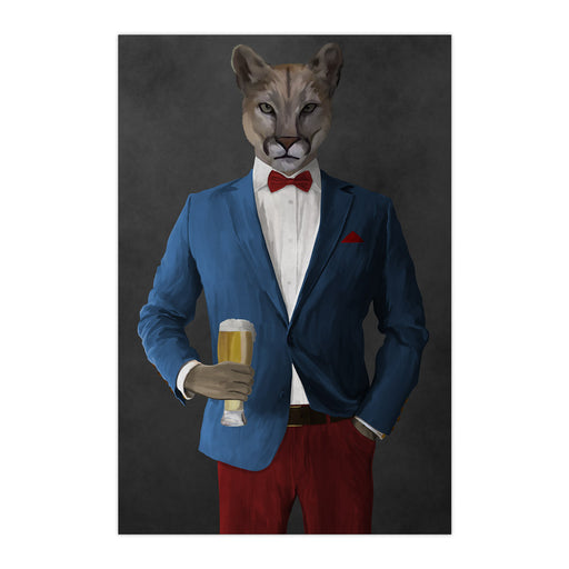 Cougar Drinking Beer Wall Art - Blue and Red Suit