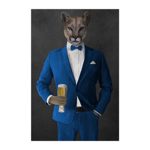 Cougar Drinking Beer Wall Art - Blue Suit