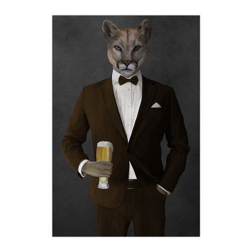 Cougar Drinking Beer Wall Art - Brown Suit