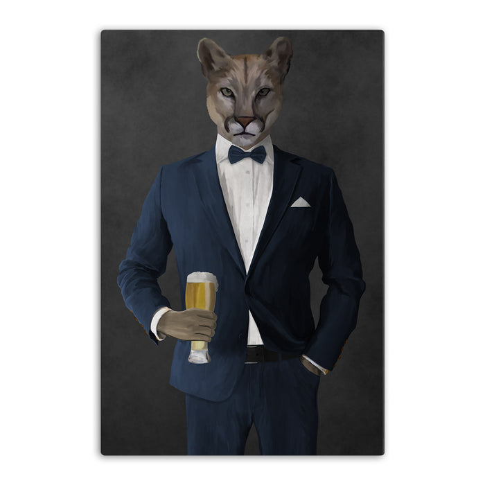 Cougar Drinking Beer Wall Art - Navy Suit