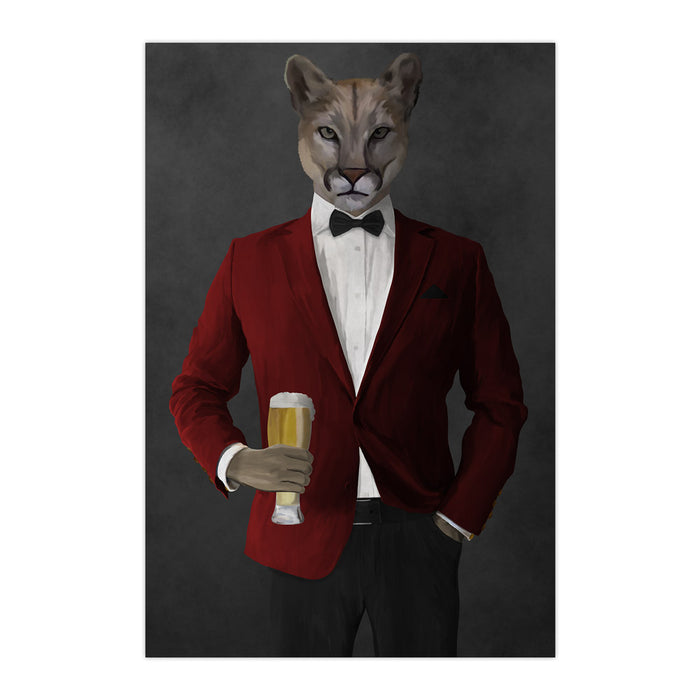 Cougar Drinking Beer Wall Art - Red and Black Suit