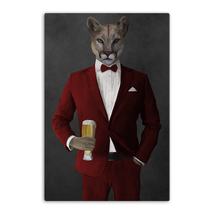 Cougar Drinking Beer Wall Art - Red Suit